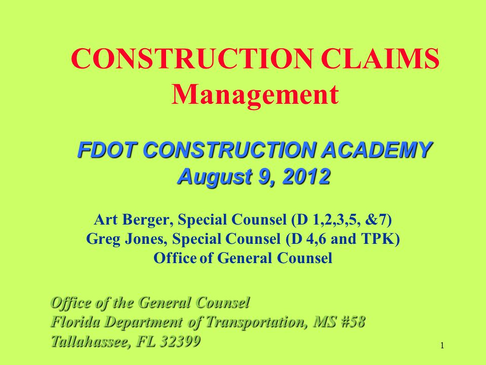 CONSTRUCTION CLAIMS Management