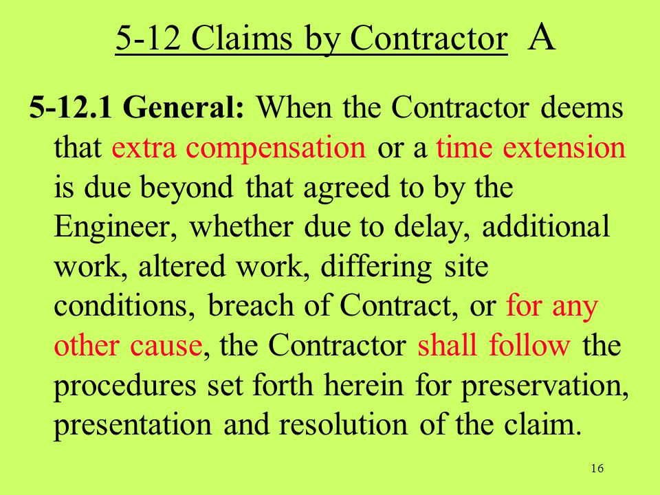 5-12 Claims by Contractor A