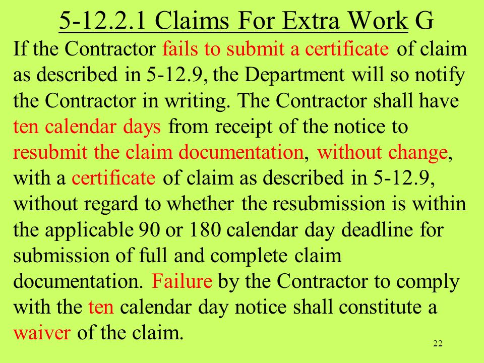 5-12.2.1 Claims For Extra Work G