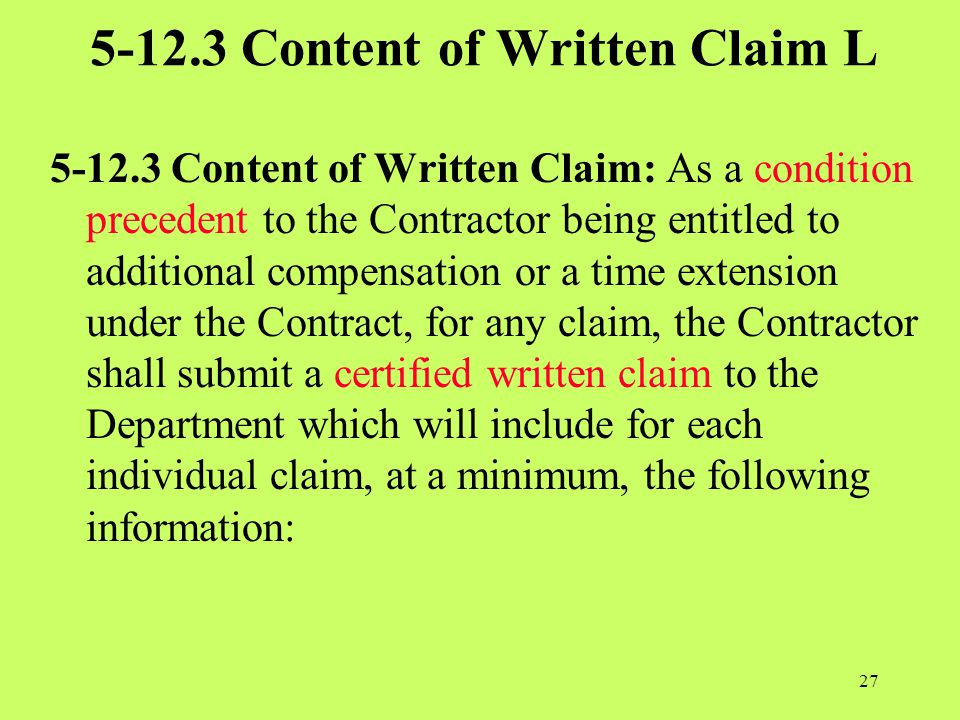 5-12.3 Content of Written Claim L