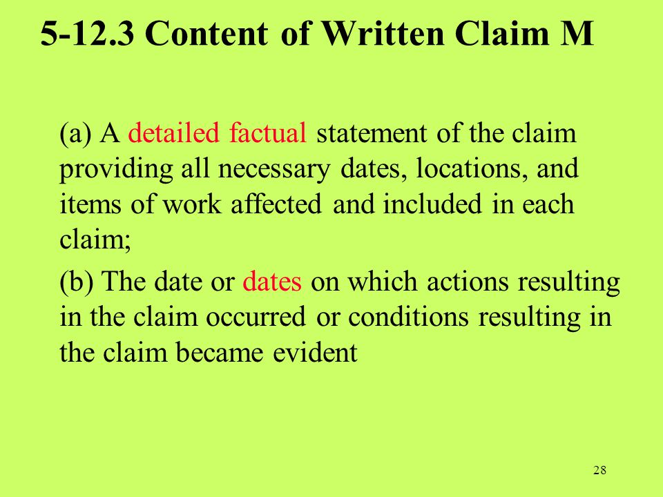 5-12.3 Content of Written Claim M