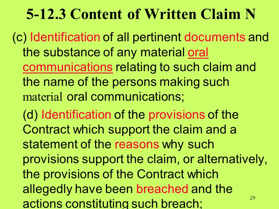 5-12.3 Content of Written Claim N