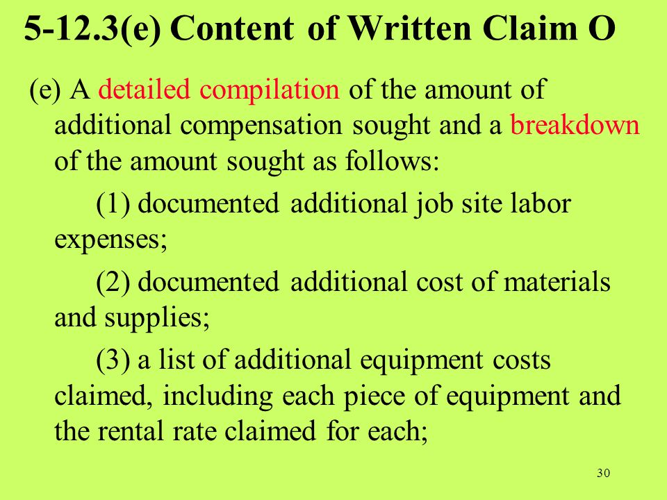5-12.3(e) Content of Written Claim O