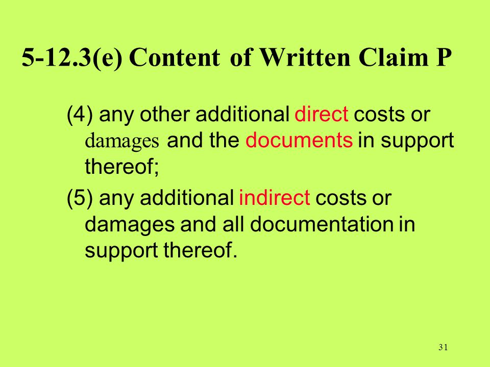 5-12.3(e) Content of Written Claim P