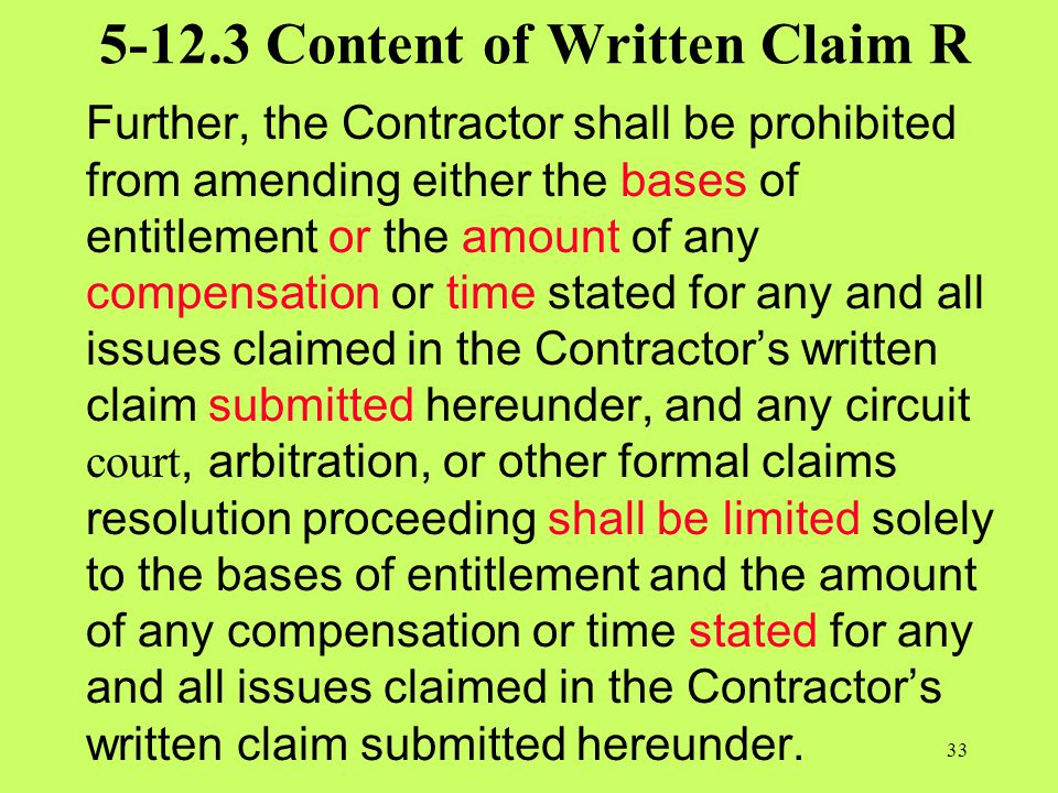 5-12.3 Content of Written Claim R
