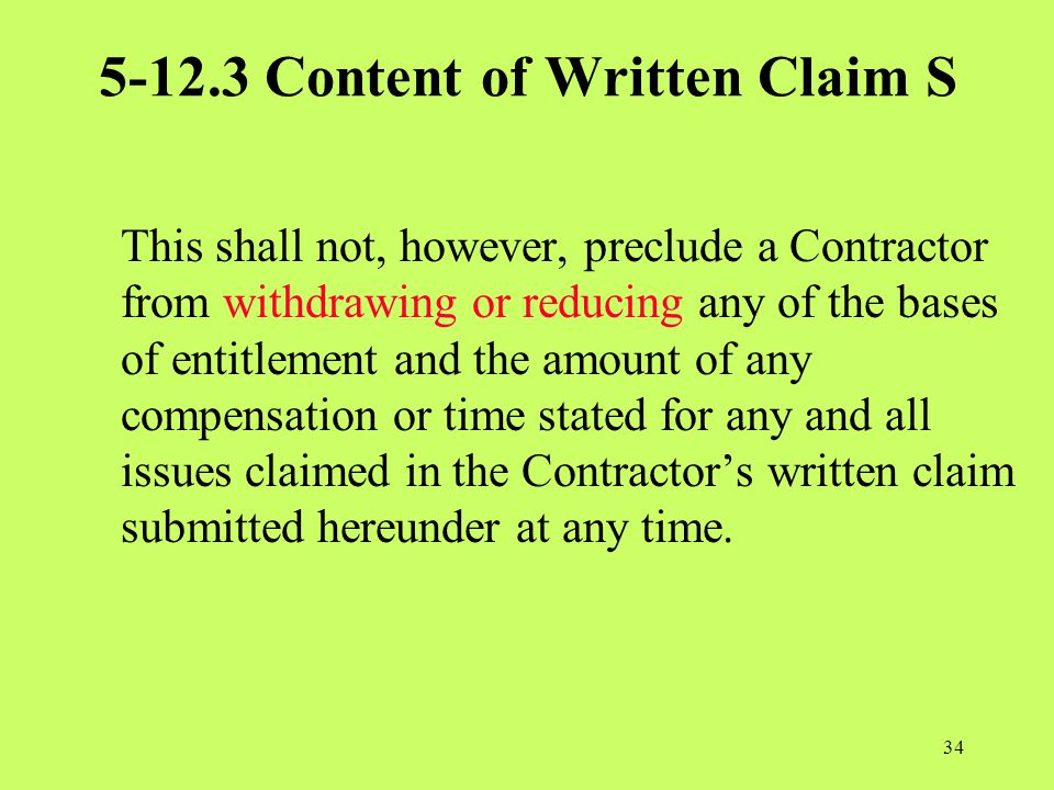 5-12.3 Content of Written Claim S