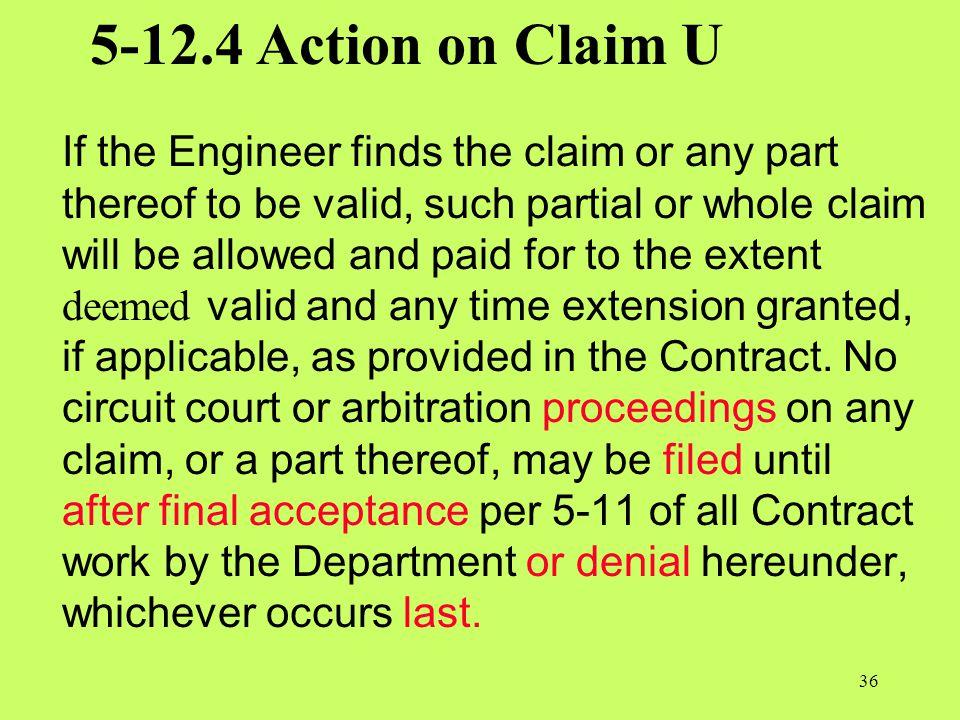 5-12.4 Action on Claim U