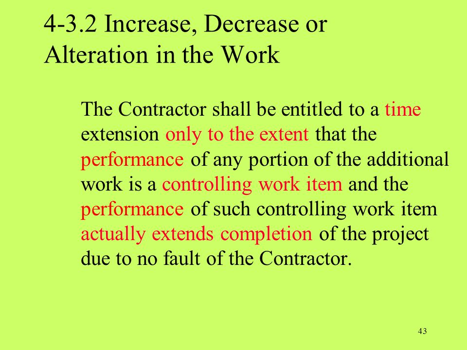 4-3.2 Increase, Decrease or Alteration in the Work