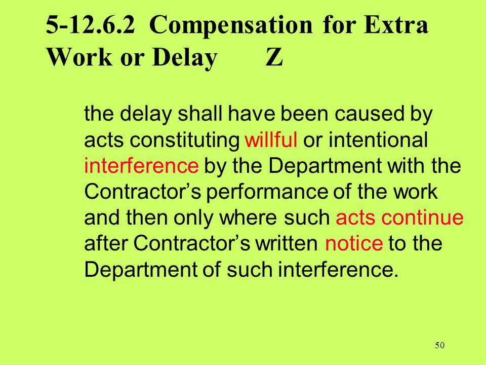 5-12.6.2 Compensation for Extra Work or Delay Z