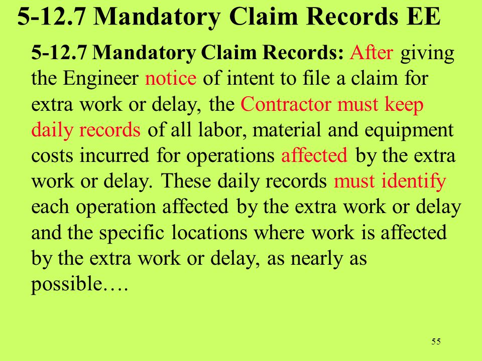 5-12.7 Mandatory Claim Records EE
