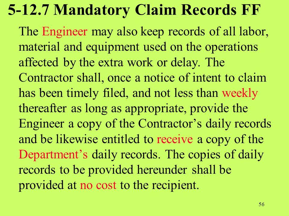 5-12.7 Mandatory Claim Records FF