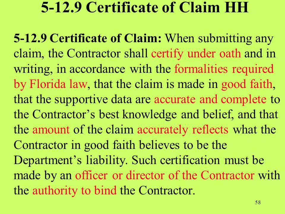 5-12.9 Certificate of Claim HH