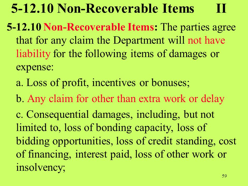 5-12.10 Non-Recoverable Items II
