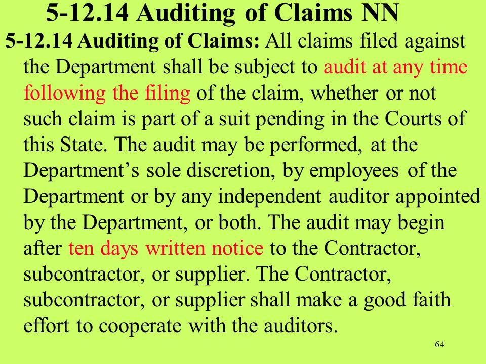 5-12.14 Auditing of Claims NN