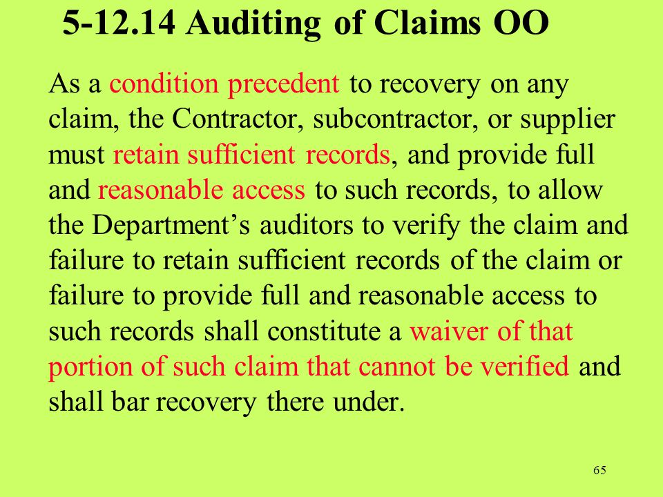 5-12.14 Auditing of Claims OO