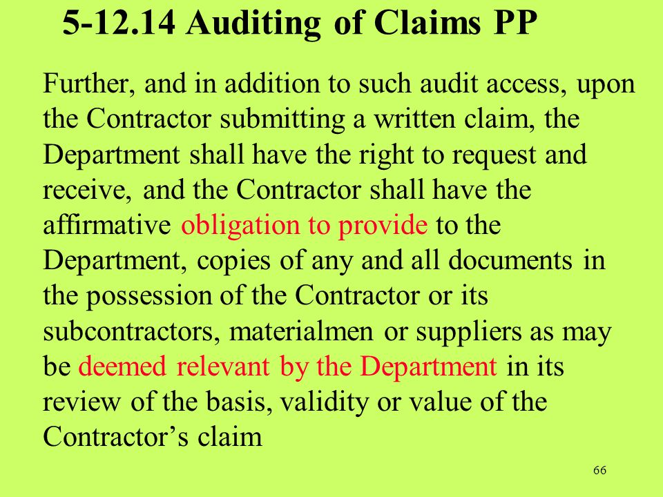 5-12.14 Auditing of Claims PP