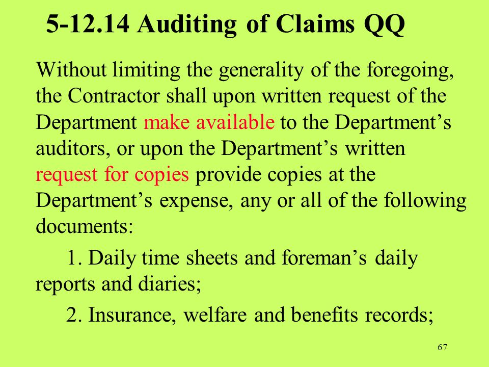 5-12.14 Auditing of Claims QQ