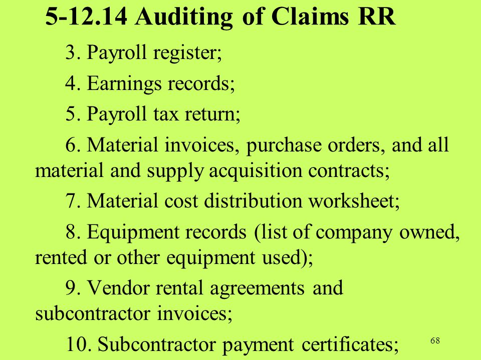 5-12.14 Auditing of Claims RR