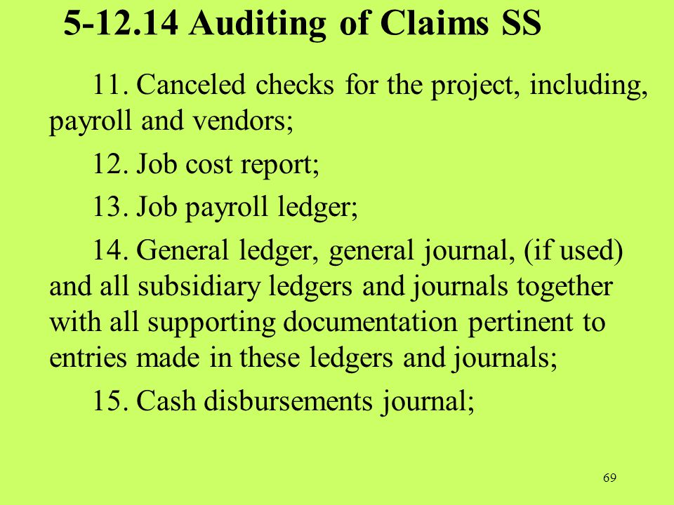 5-12.14 Auditing of Claims SS