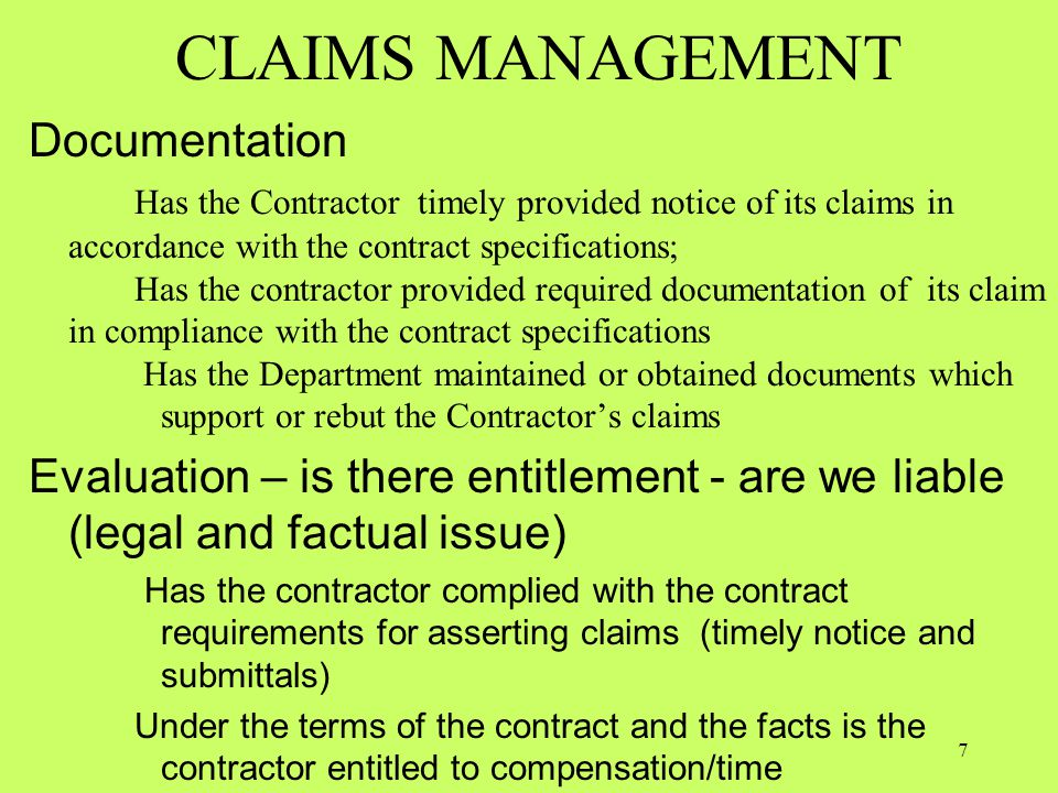 CLAIMS MANAGEMENT Documentation