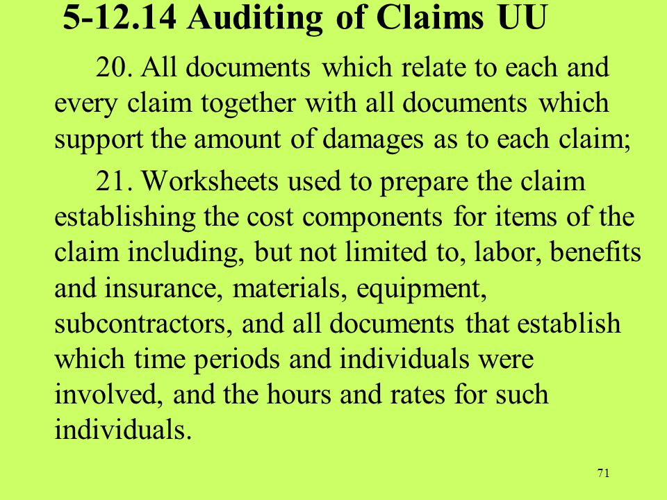 5-12.14 Auditing of Claims UU