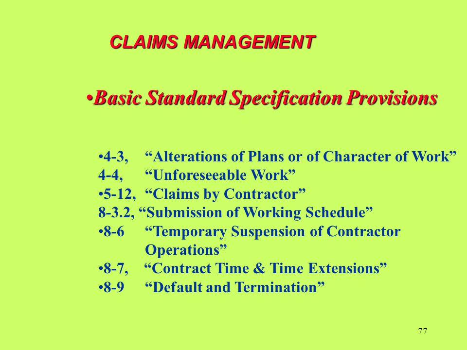 Basic Standard Specification Provisions