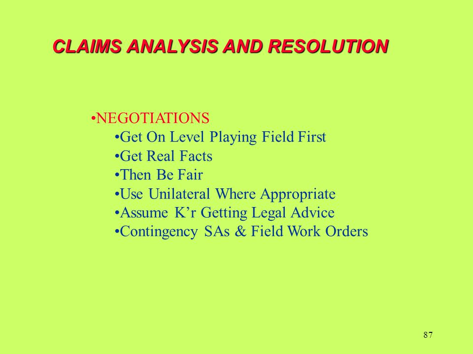 CLAIMS ANALYSIS AND RESOLUTION