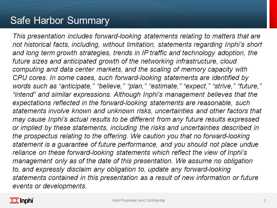Safe Harbor Summary