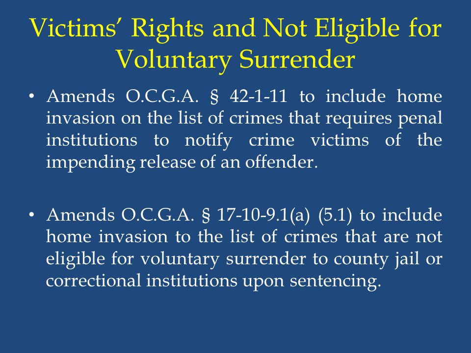 Victims' Rights and Not Eligible for Voluntary Surrender