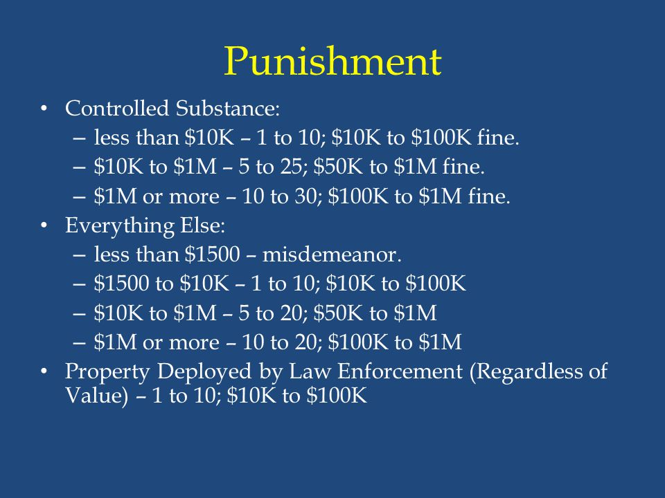 Punishment Controlled Substance: