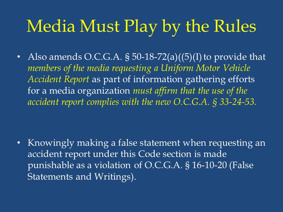 Media Must Play by the Rules
