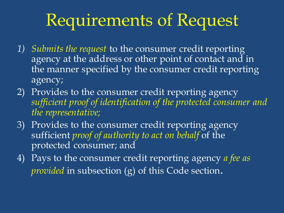 Requirements of Request