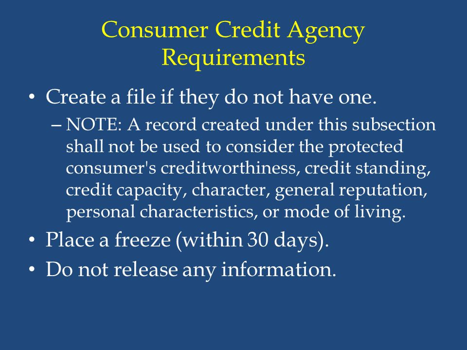 Consumer Credit Agency Requirements