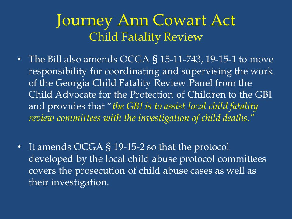 Journey Ann Cowart Act Child Fatality Review
