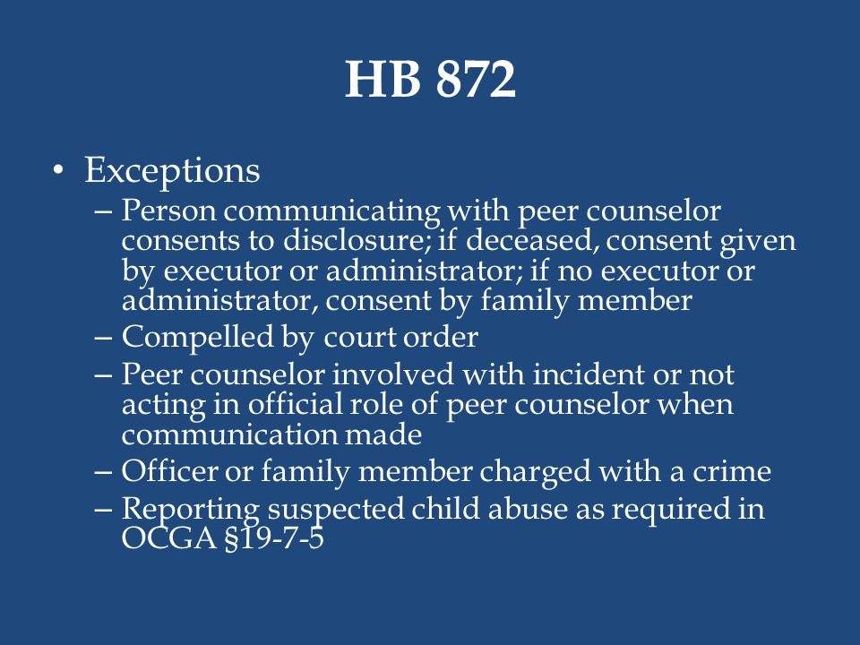 HB 872 Exceptions.