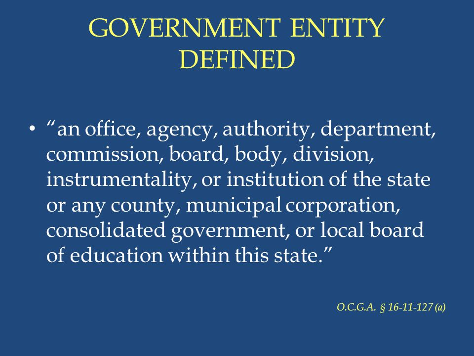 GOVERNMENT ENTITY DEFINED