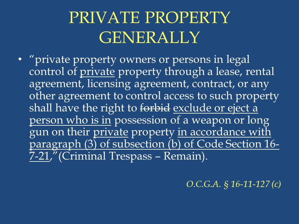 PRIVATE PROPERTY GENERALLY
