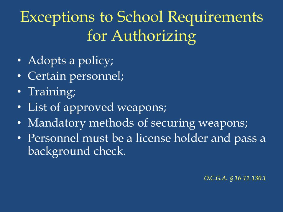 Exceptions to School Requirements for Authorizing