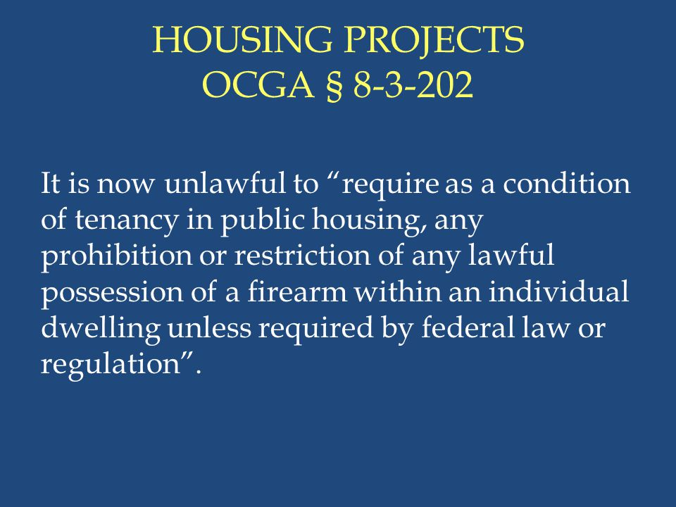 HOUSING PROJECTS OCGA § 8-3-202