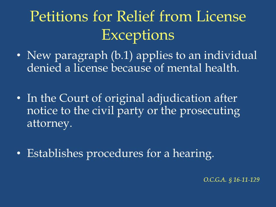 Petitions for Relief from License Exceptions