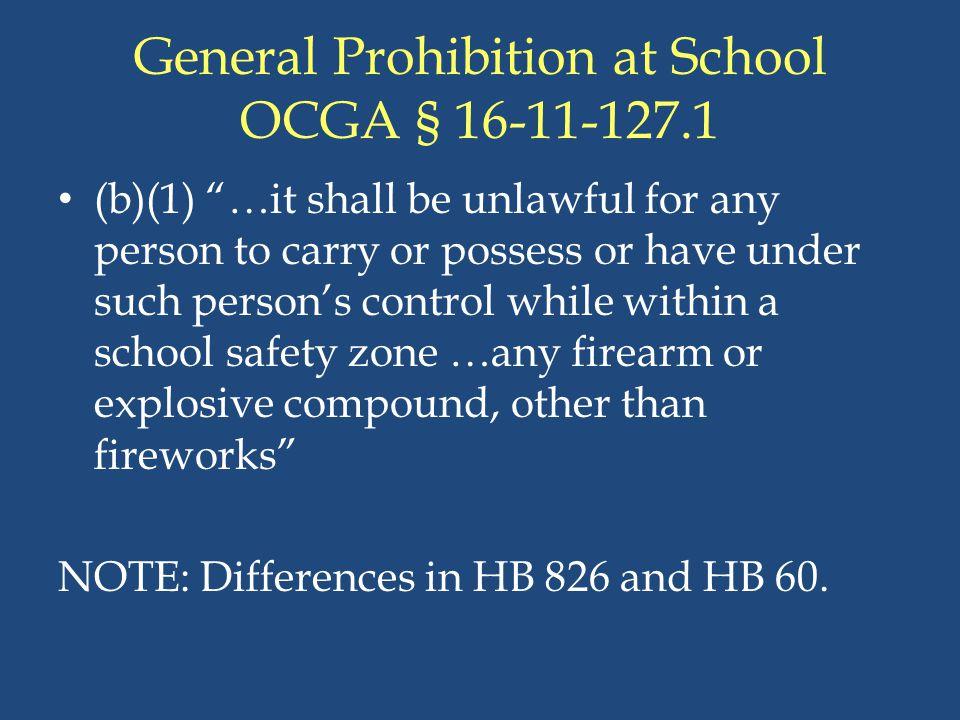 General Prohibition at School OCGA § 16-11-127.1