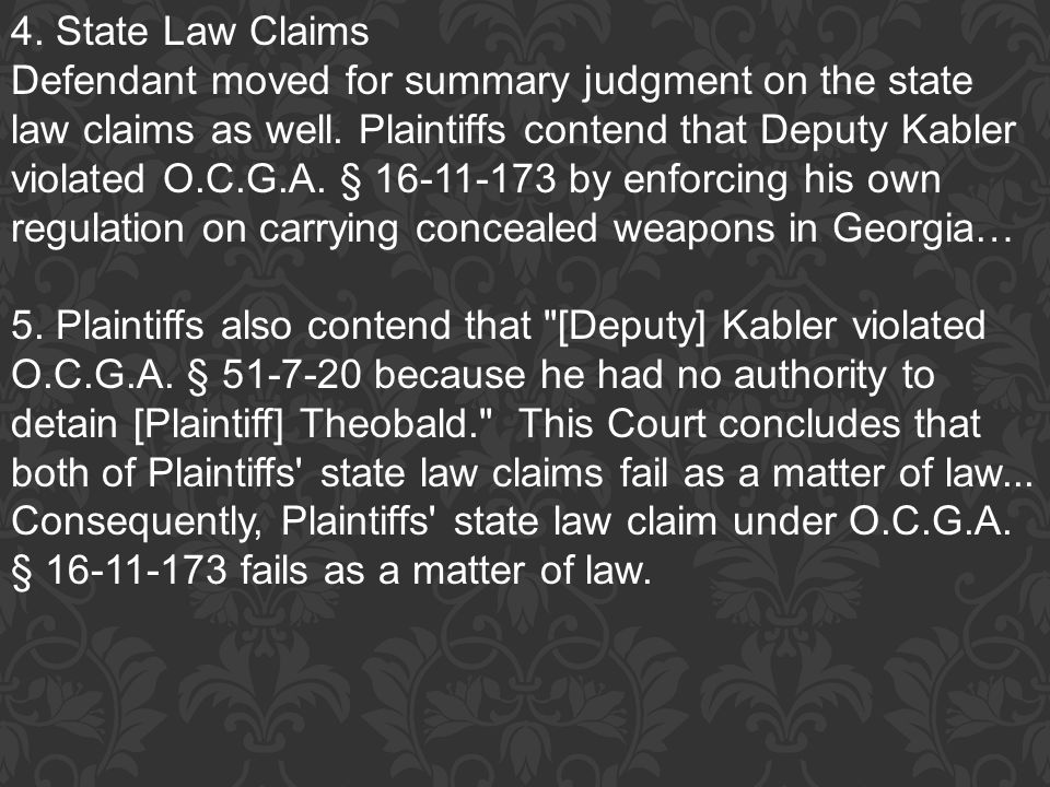 4. State Law Claims