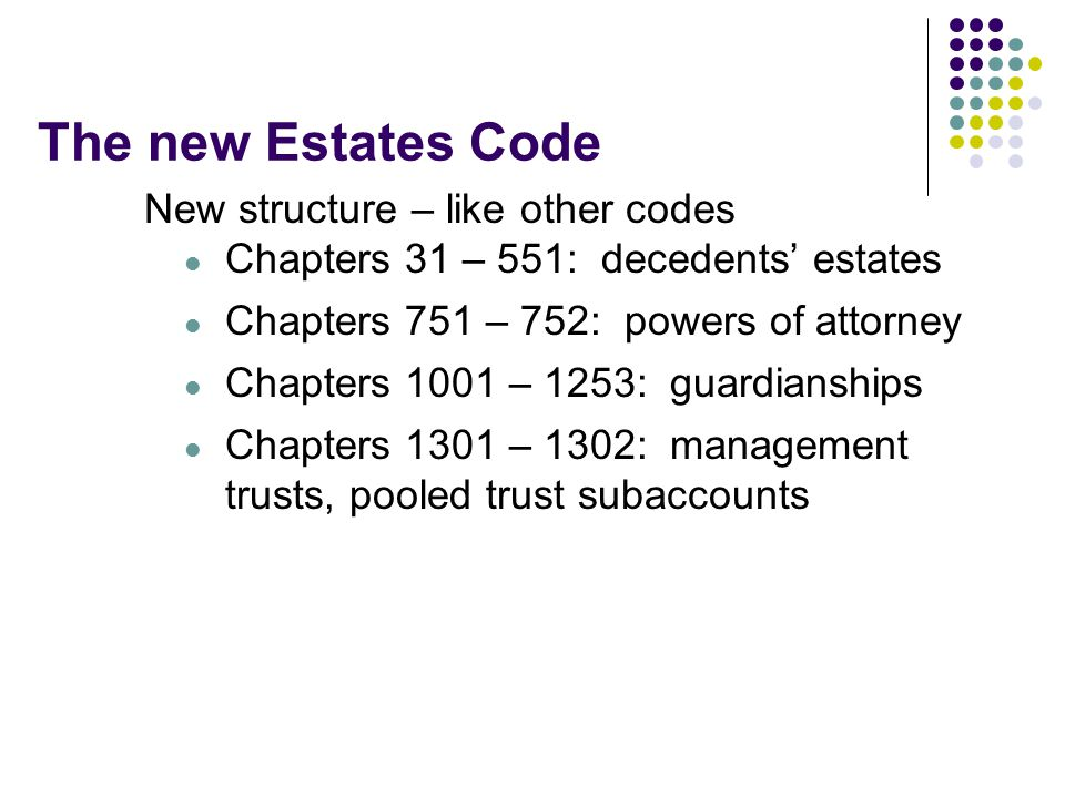 The new Estates Code New structure – like other codes