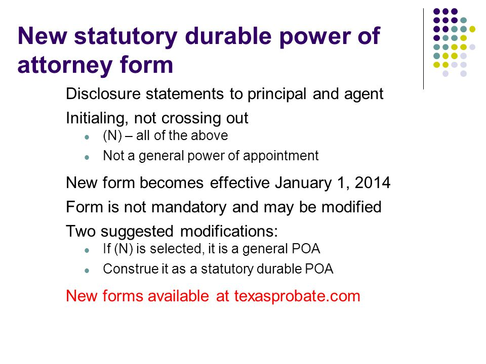 New statutory durable power of attorney form
