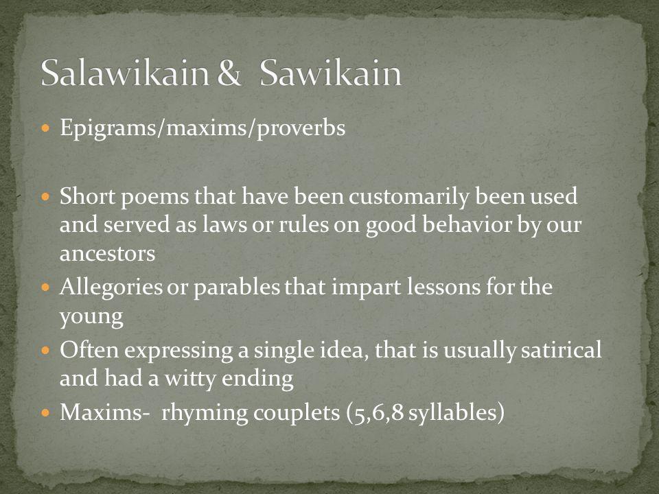 Salawikain & Sawikain Epigrams/maxims/proverbs