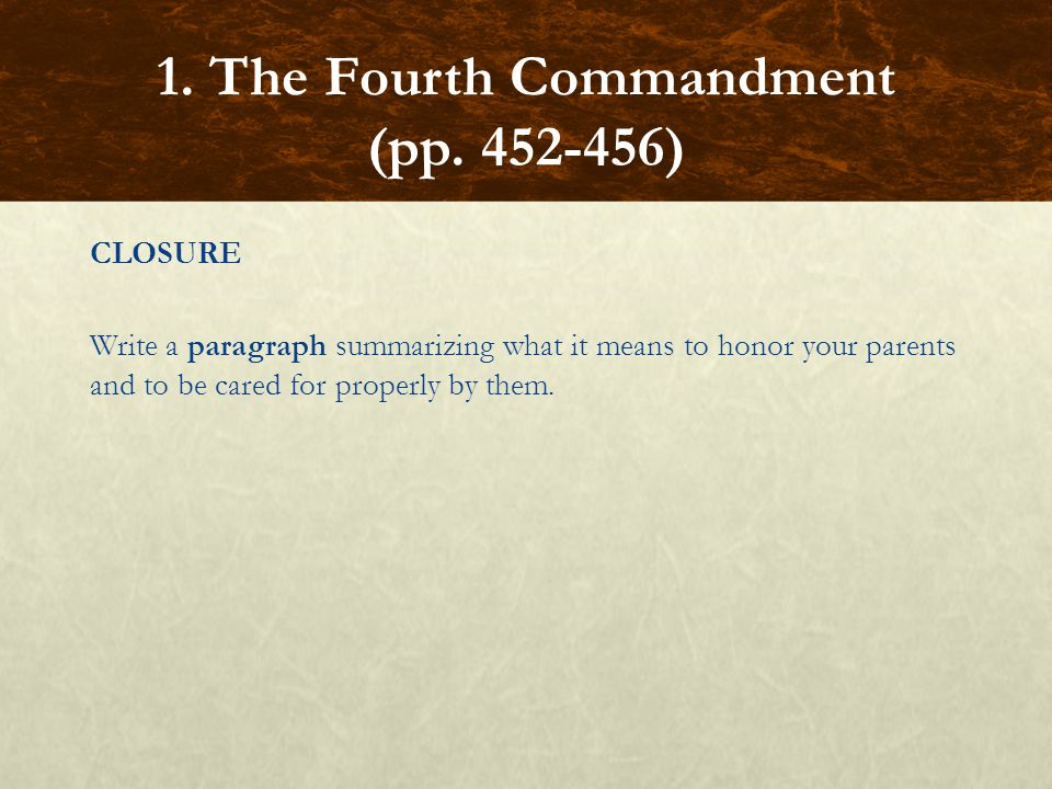1. The Fourth Commandment (pp. 452-456)