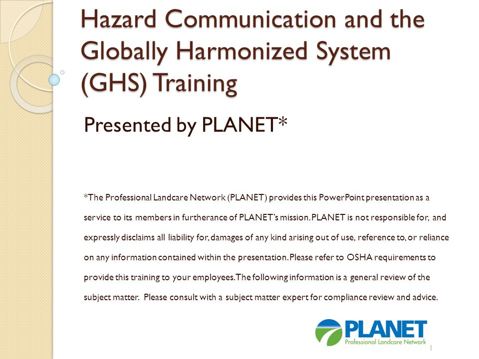 Hazard communication and the globally harmonized system (ghs.