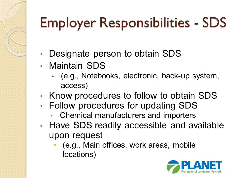 Employer Responsibilities - SDS