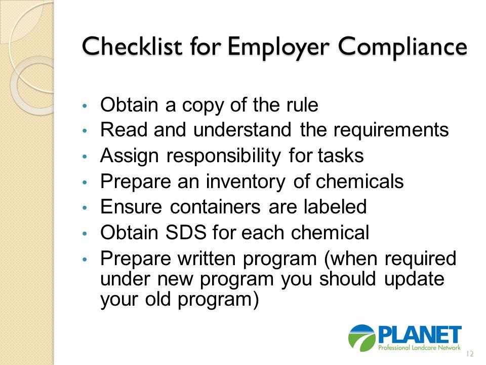 Checklist for Employer Compliance