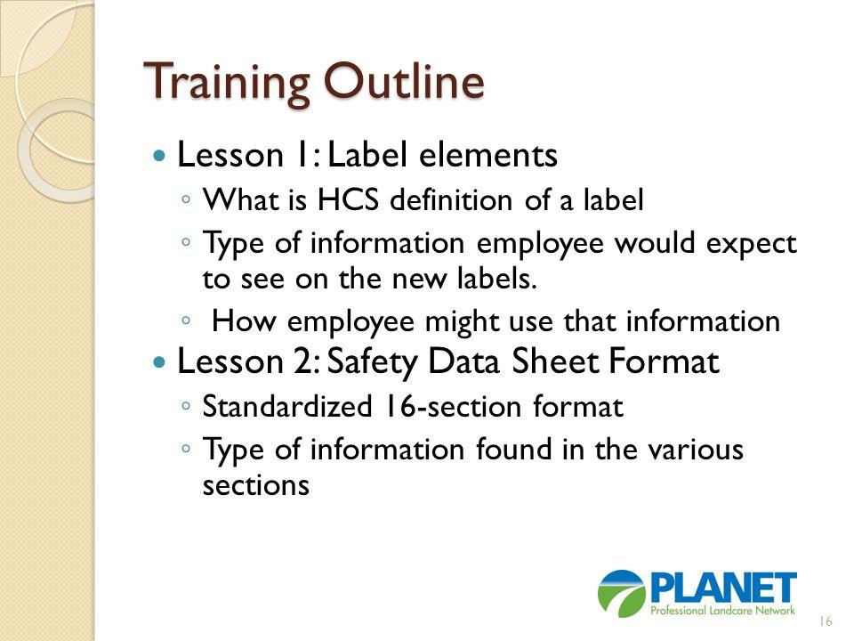 Training Outline Lesson 1: Label elements